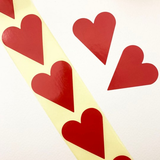 """Large Red Heart Stickers ~ 1-7/8"""" ~ 54 Stickers"""