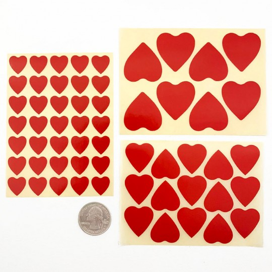 Red Heart Stickers in 3 Sizes ~ Sweden