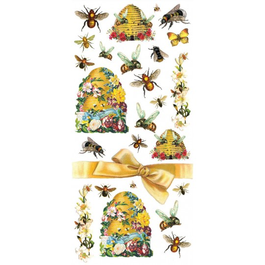 1 Sheet of Stickers Mixed Bees, Flowers and Hives