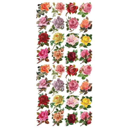 1 Sheet of Stickers Mixed Miniature Roses