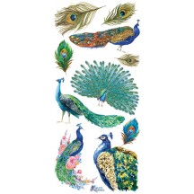 1 Sheet of Stickers Peacocks and Feathers