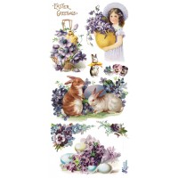 1 Sheet of Stickers Purple Easter Bunnies and Flowers