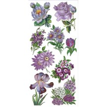 1 Sheet of Stickers Mixed Purple Garden Flowers