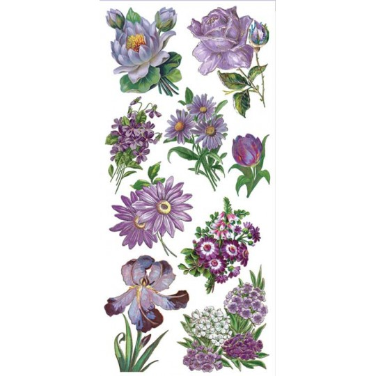 1 Sheet of Stickers Mixed Purple Garden Flowers