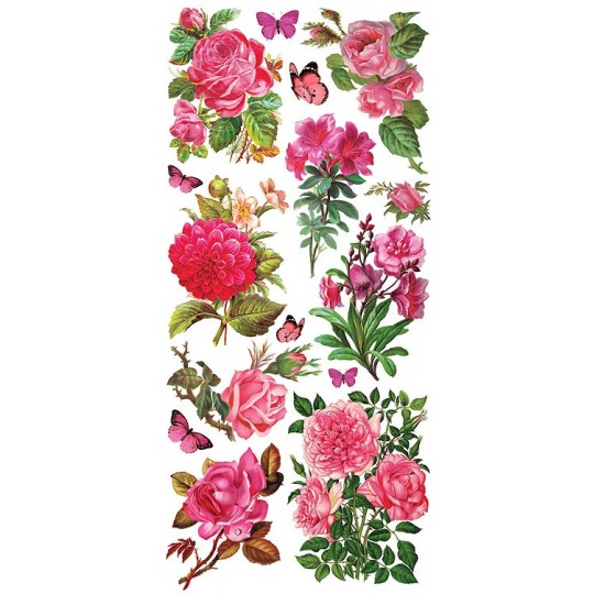 1 Sheet of Stickers Fuchsia Roses