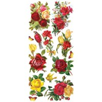 1 Sheet of Stickers Red and Yellow Roses