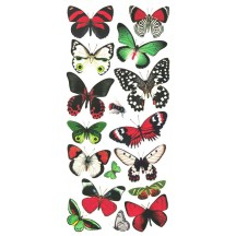 1 Sheet of Stickers Red, Black and Green Butterflies