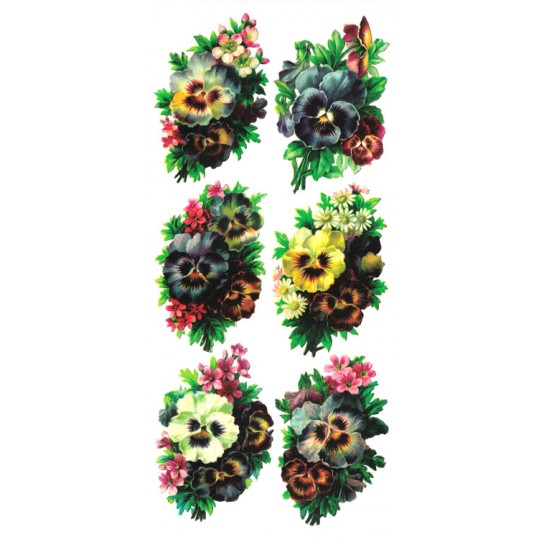 1 Sheet of Stickers Mixed Pansy Bouquets