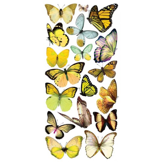 1 Sheet of Stickers Pale Yellow Mixed Butterflies