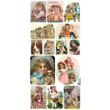 1 Sheet of Stickers Victorian Girls with Dogs