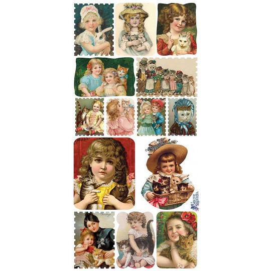 1 Sheet of Stickers Victorian Girls with Cats