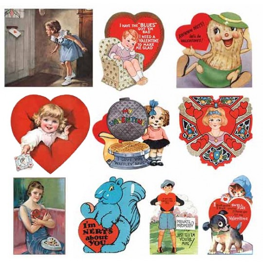 Vintage Valentine Labels Large Sticker Box Set