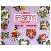 Vintage Valentine Hearts and Flowers Large Sticker Box Set