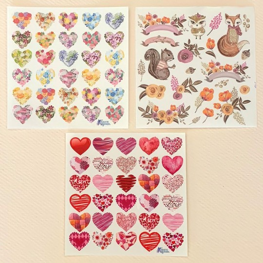 Petite Stickers of Hearts, Flowers and Animals ~ 3 Sheet Mixed Sticker Set