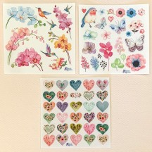 Petite Stickers of Hearts, Flowers and Birds ~ 3 Sheet Mixed Sticker Set