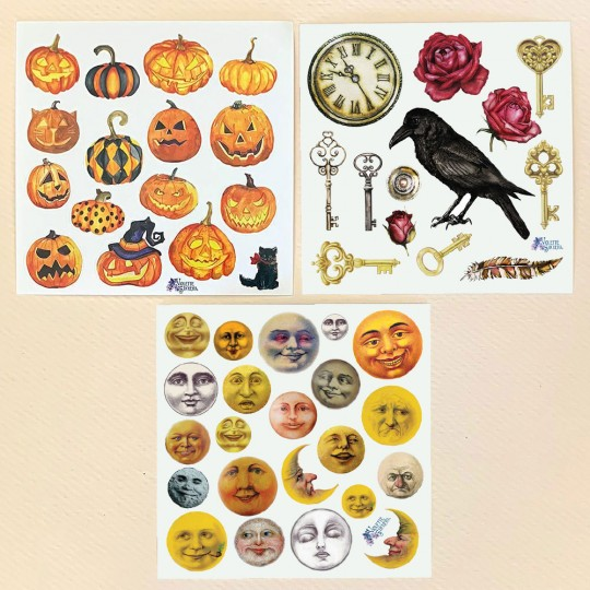 Petite Stickers of Halloween Pumpkins, Moons, Keys and a Raven ~ 3 Sheet Mixed Sticker Set