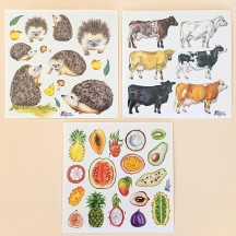 Petite Stickers of Fruit, Hedgehogs and Cows ~ 3 Sheet Mixed Sticker Set