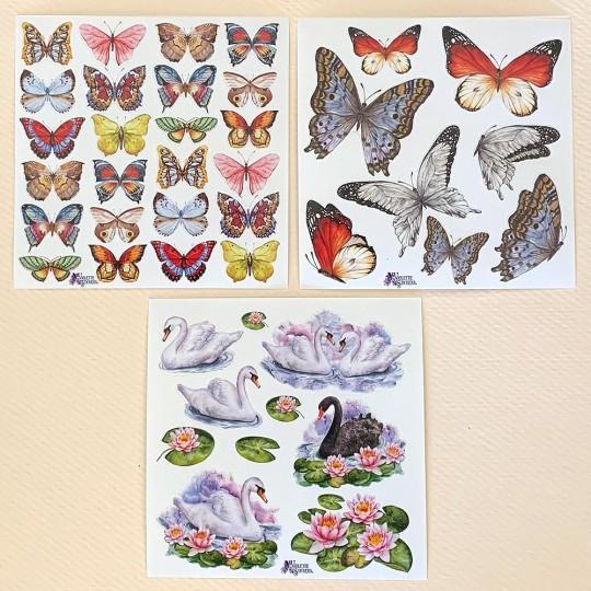Petite Stickers of Butterflies, Swans, Flowers ~ 3 Sheet Mixed Sticker Set
