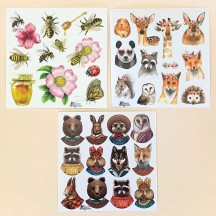 Petite Stickers of Animals in Costumes, Bees, and Flowers ~ 3 Sheet Mixed Sticker Set