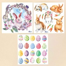 Petite Stickers of Easter Eggs and Bunnies ~ 3 Sheet Mixed Sticker Set