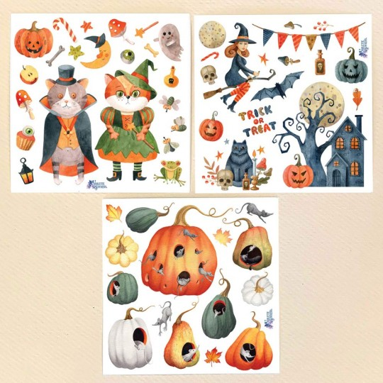 Petite Stickers of Halloween Cats, Treats, Gourds and a Hounted House ~ 3 Sheet Mixed Sticker Set