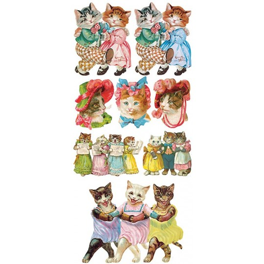 1 Sheet of Stickers Dance Cats