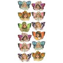 1 Sheet of Stickers Victorian Butterfly Girls