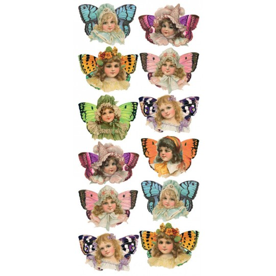 1 Sheet of Stickers Victorian Butterfly Girls