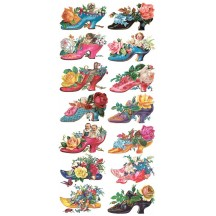 1 Sheet of Stickers Victorian Shoes