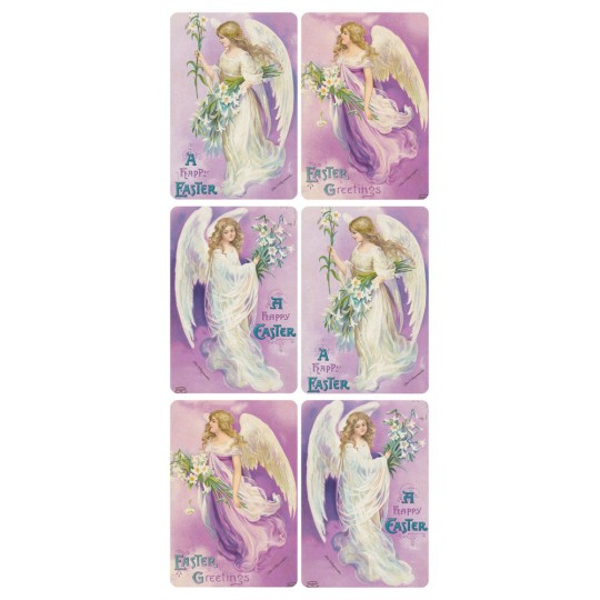 1 Sheet of Stickers Easter Angels with Lilies on Purple