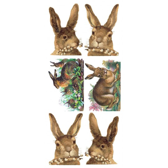 1 Sheet of Stickers Brown Easter Bunnies