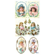 1 Sheet of Stickers Old Fashioned Easter Girls