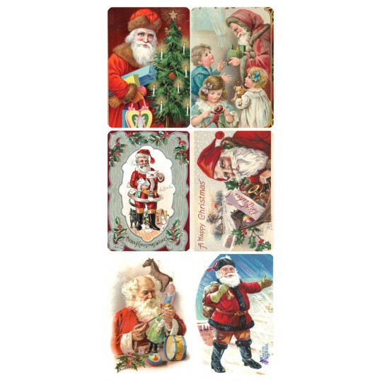 1 Sheet of Stickers Victorian Christmas Santa Mix