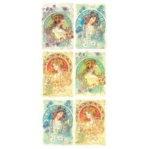 1 Sheet of Stickers Art Nouveau Women