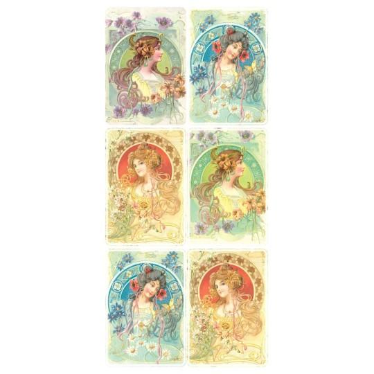 1 Sheet of Stickers Art Nouveau Women