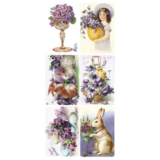 1 Sheet of Stickers Old Fashioned Violets and Easter Eggs