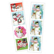 2 Sheets of Stickers Retro Snowmen