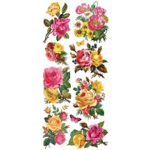 1 Sheet of Stickers Mixed Pink and Yellow Rose Bouquets