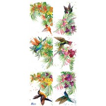 1 Sheet of Stickers Tropical Hummingbirds and Foliage
