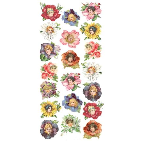1 Sheet of Stickers Mixed Flower Girls