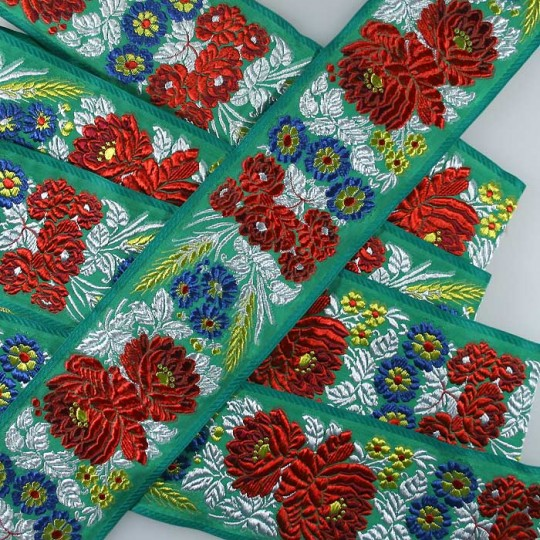 "Extra Wide Green Floral Folk Costume Trim ~ Czech Republic ~ 2-3/4"" wide"