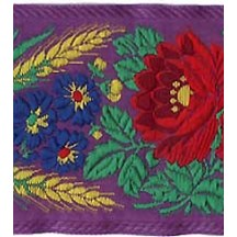 "Extra Wide Purple Floral Folk Costume Trim ~ Czech Republic ~ 2-3/4"" wide"