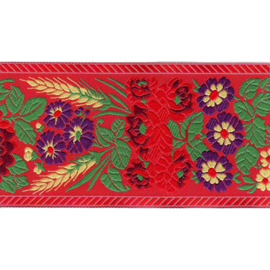 "Extra Wide Red Floral Folk Costume Trim ~ Czech Republic ~ 2-3/4"" wide"