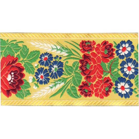 "Extra Wide Yellow Floral Folk Costume Trim ~ Czech Republic ~ 2-3/4"" wide"