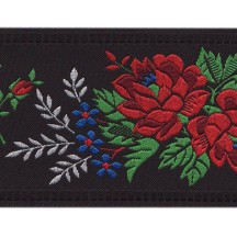 "Wide Black Floral Folk Costume Trim ~ Czech Republic ~ 2-1/4"" wide"
