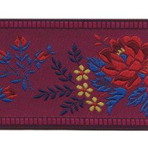 "Wide Burgundy Floral Folk Costume Trim ~ Czech Republic ~ 2-1/4"" wide"