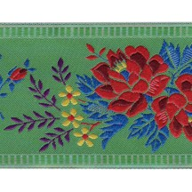 "Wide Green Floral Folk Costume Trim ~ Czech Republic ~ 2-1/4"" wide"