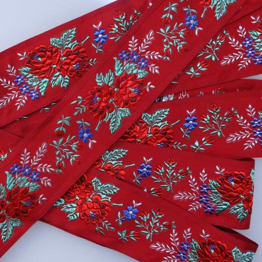 "Wide Red Floral Folk Costume Trim ~ Czech Republic ~ 2-1/4"" wide"