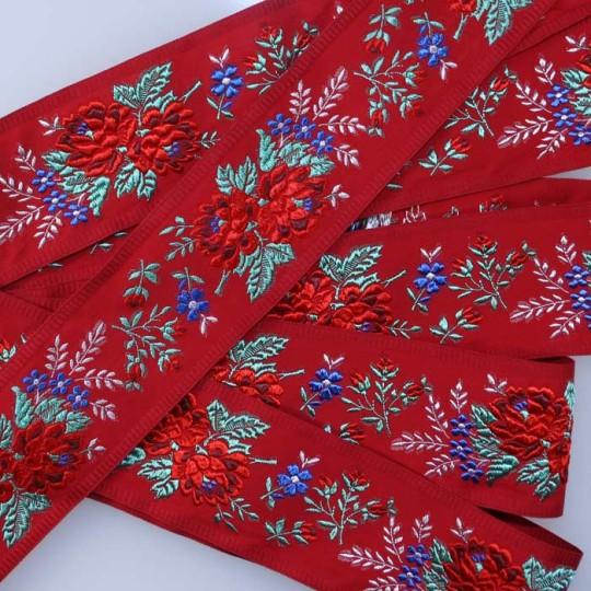 """Wide Red Floral Folk Costume Trim ~ Czech Republic ~ 2-1/4"""" wide"""