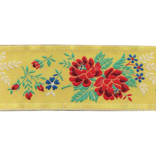 "Wide Yellow Floral Folk Costume Trim ~ Czech Republic ~ 2-1/4"" wide"
